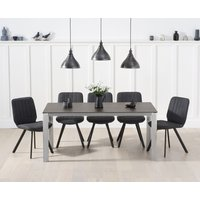 Read more about Antonia 170cm mink/brown spanish ceramic dining table with dali faux leather chairs