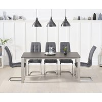 Antonia 170cm Mink/Brown Spanish Ceramic Dining Table with Lorin Faux Leather Chairs