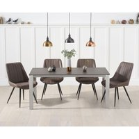 Read more about Antonia 170cm mink/brown spanish ceramic dining table with marcel antique chairs