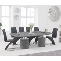 Alona 220cm Grey Marble Dining Table with Hampstead Z Chairs