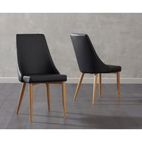 Product photograph showing Ashbourne Black Faux Leather Dining Chairs Pairs