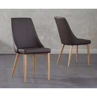 Product photograph showing Ashbourne Brown Faux Leather Dining Chairs Pairs