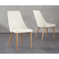 Product photograph showing Ashbourne Cream Faux Leather Dining Chairs Pairs