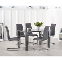 Read more about Atlanta 120cm dark grey high gloss dining table with tarin chairs
