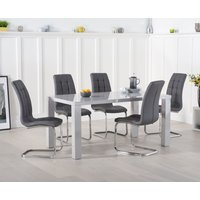 Read more about Atlanta 160cm light grey high gloss dining table with lorin chairs