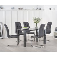 Read more about Atlanta 120cm dark grey high gloss dining table with lorin chairs
