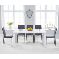 Product photograph showing Atlanta 160cm White High Gloss Dining Table With Atlanta Stackable Chairs