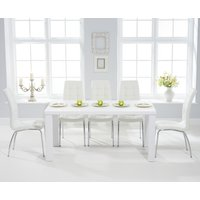 Read more about Atlanta 160cm white high gloss dining table with calgary chairs