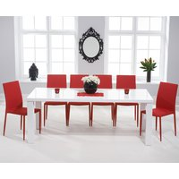Product photograph showing Atlanta 200cm White High Gloss Dining Table With Atlanta Stackable Chairs