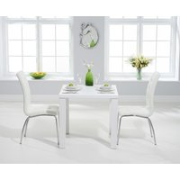 Product photograph showing Atlanta 80cm White High Gloss Dining Table With Calgary Chairs