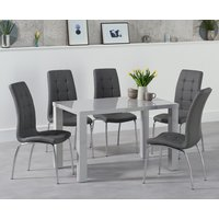 Read more about Atlanta 120cm light grey gloss dining table with calgary chairs