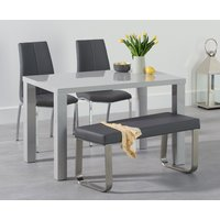 Read more about Atlanta 120cm light grey high gloss dining table with cavello chairs and atlanta grey bench