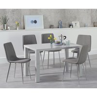 Read more about Atlanta 120cm light grey high gloss dining table with hamburg fabric chairs
