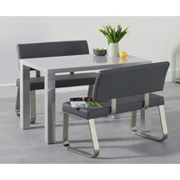 Read more about Atlanta 120cm light grey high gloss dining table with malaga grey benches