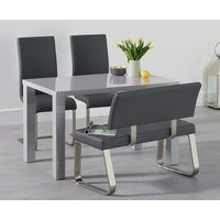 Read more about Atlanta 120cm light grey high gloss dining table with malaga chairs and malaga grey bench