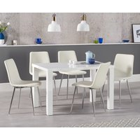Read more about Atlanta 120cm white high gloss dining table with hamburg faux leather chairs