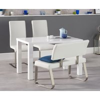 Read more about Atlanta 120cm white high gloss dining table with malaga chairs and malaga white bench