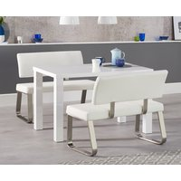 Read more about Atlanta 120cm white high gloss dining table with malaga white benches