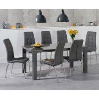 Read more about Atlanta 160cm dark grey high gloss dining table with calgary chairs