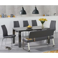 Read more about Atlanta 160cm dark grey high gloss dining table with cavello chairs and malaga grey bench