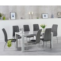 Read more about Atlanta 160cm light grey high gloss dining table with calgary chairs