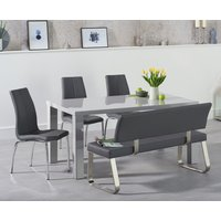 Read more about Atlanta 160cm light grey high gloss dining table with cavello chairs and malaga grey bench
