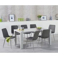 Read more about Atlanta 160cm light grey high gloss dining table with hamburg faux leather chrome chairs