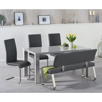 Read more about Atlanta 160cm light grey high gloss dining table with malaga chairs and malaga grey bench