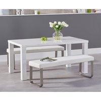 Atlanta 160cm White High Gloss Dining Table with Atlanta Benches