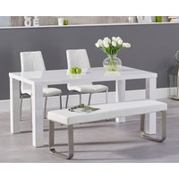 Read more about Atlanta 160cm white high gloss dining table with cavello chairs and atlanta white bench