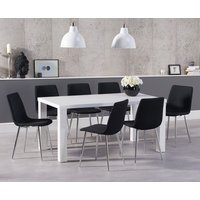 Read more about Atlanta 160cm white high gloss dining table with hamburg fabric chrome leg chairs