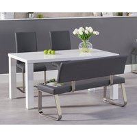 Read more about Atlanta 160cm white high gloss dining table with malaga chairs and malaga grey bench