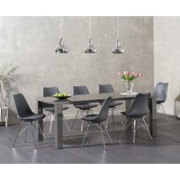 Read more about Atlanta 200cm dark grey high gloss dining table with calvin faux leather chrome leg chairs