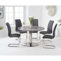Read more about Baha 120cm round grey marble dining table with lorin chairs