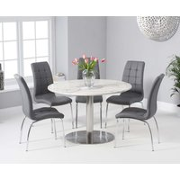 Read more about Baha 120cm round white marble dining table with calgary chairs