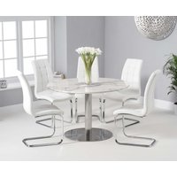 Read more about Baha 120cm round white marble dining table with lorin chairs
