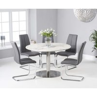 Read more about Baha 120cm round white marble dining table with tarin chairs