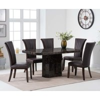 Read more about Brandi 160cm brown marble dining table with alpine chairs