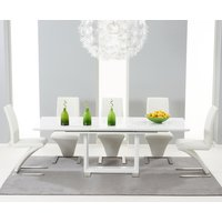 Read more about Bianco 160cm white high gloss extending dining table with hampstead z chairs