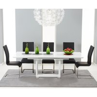 Bianco 160cm White High Gloss Extending Dining Table with Ma