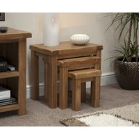 Product photograph showing Rustic Solid Oak Nest Of Tables