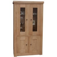 Product photograph showing Luanda Oak And Glass Cabinet