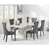 Product photograph showing Calacatta 180cm Marble Dining Table With Freya Chairs