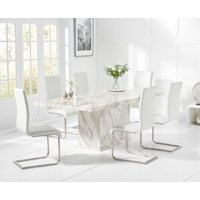 Product photograph showing Calacatta 180cm Marble Dining Table With Malaga Chairs