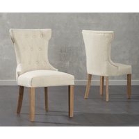 Product photograph showing Cora Cream Fabric Dining Chairs Pairs
