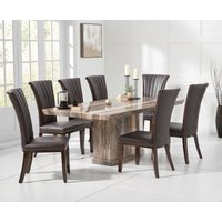 Read more about Carvelle 160cm brown pedestal marble dining table with alpine chairs