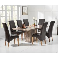 Read more about Carvelle 160cm brown pedestal marble dining table with cannes chairs
