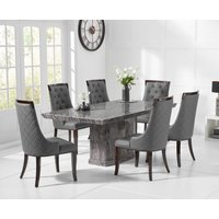 Product photograph showing Carvelle 160cm Dark Grey Pedestal Marble Dining Table With Angelica Chairs