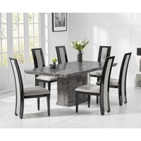 Carvelle 200cm Dark Grey Pedestal Marble Dining Table with Raphael Chairs
