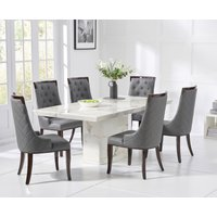 Carvelle 200cm White Pedestal Marble Dining Table with Angelica Chairs